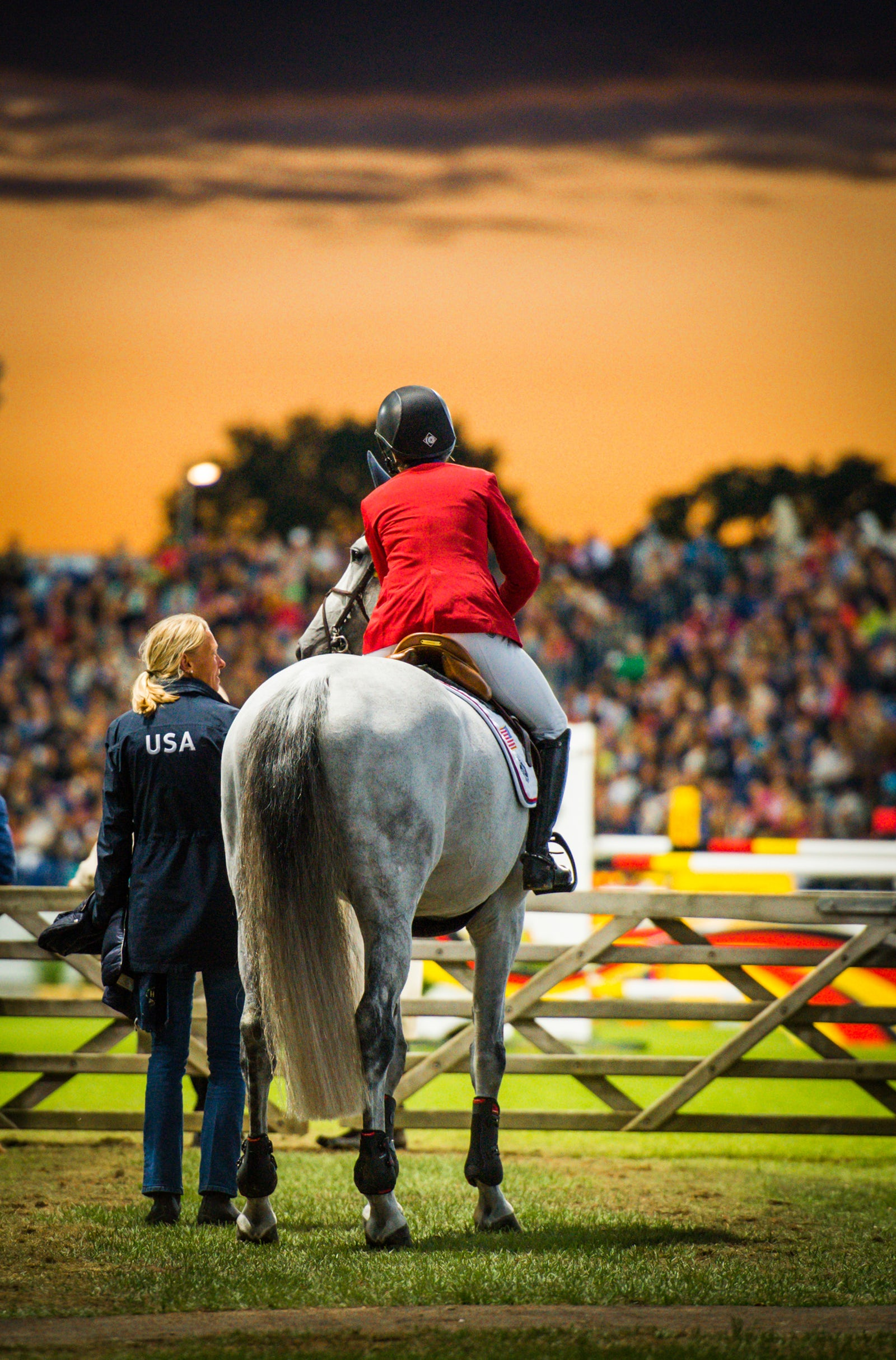 CHIO Aachen, Nations Cup 2016  Laura Kraut and Zeremonie, with longtime groom Johanna Burtsoff, for Team USA at the ingate, July 2016.